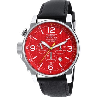 Invicta Black Leather Watch with Red Dial