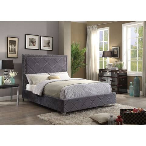 Meridian Hampton Grey Velvet Bed