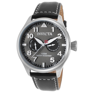 Invicta Men's Black Leather Watch