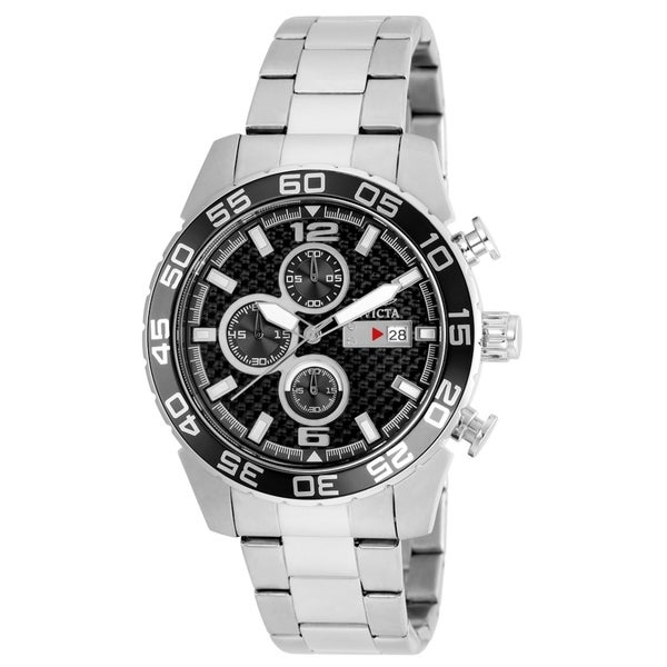 Invicta Stainless Steel Men's Watch with Black Dial