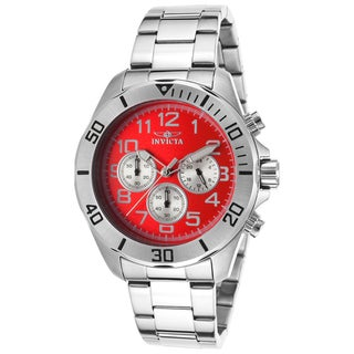 Invicta Red/Silvertone Stainless Steel Watch