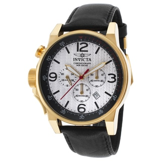 Invicta Men's Black Leather Chronograph Watch