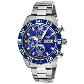 Invicta Men's Silvertone and Blue Stainless Steel Watch