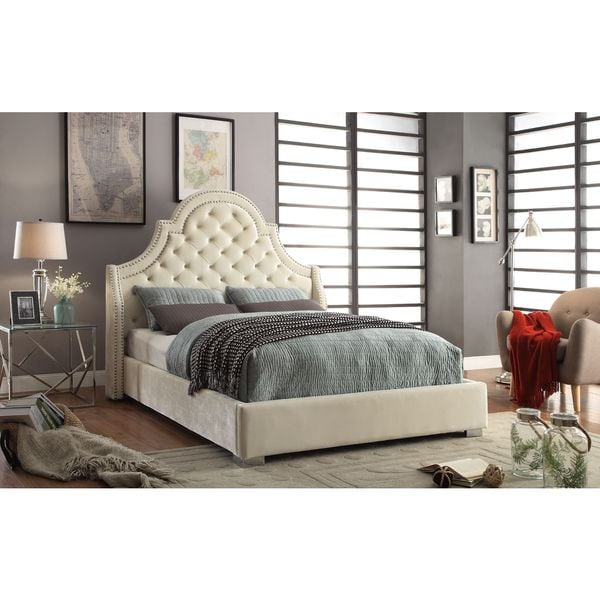 Beau Meridian Madison Cream Velvet Bed