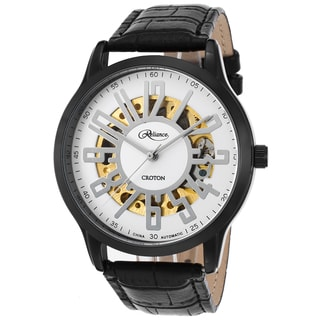 Croton Reliance Black Mineral/Leather Watch