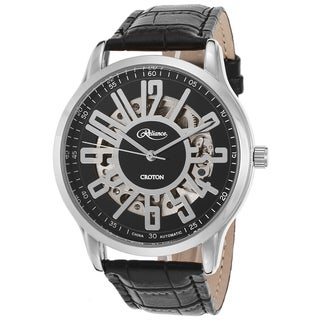Croton Men's Reliance Black Leather Strap Watch
