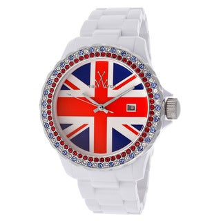 ToyWatch Women's White Union Jack Crystal Inlay Watch