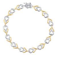 Divina Two-Tone Brass Diamond Accent Double-Heart Bracelet