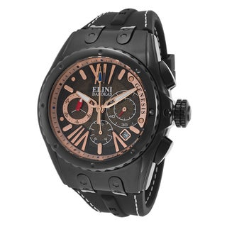 Elini Barokas Men's Genesis Vision Black-plated Stainless Steel Chronograph Watch