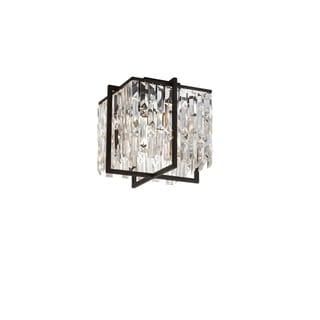 Dainolite Espresso Steel and Crystal 4-light Flush Mount Fixture