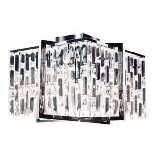 Dainolite Polished Chrome Crystal 16-inch 4-light Flush Mount