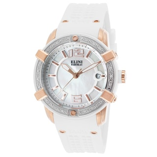 Elini Barokas White Silicone, Stainless Steel, Mother of Pearl Quartz Watch