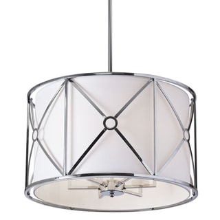 Dainolite Polished-chrome 6-light Flush Mount Metal Cage with White Shade