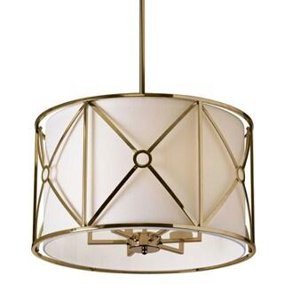 Dainolite Bronze/Ivory Steel Flush Mount 6-light Vintage Cage with Shade