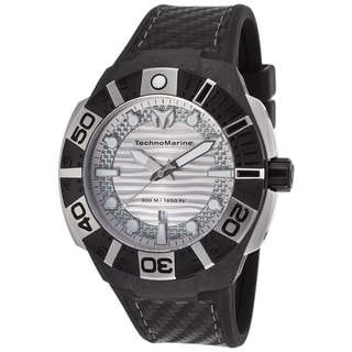 TechnoMarine Black Reef Black/Silvertone Sapphire/Silicone/Stainless Steel Watch