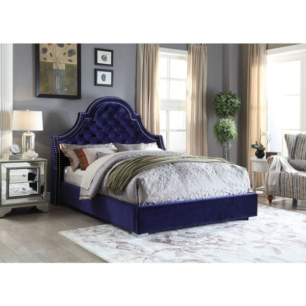 Shop Meridian Madison Navy Velvet Bed Free Shipping Today