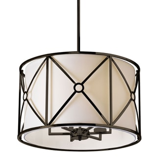 Dainolite Vintage Oiled Bronze 6-light Flush Mount Metal Cage with Ivory Shade