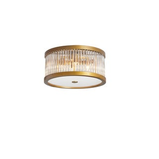 Dainolite 4-light Vintage Bronze Flush Mount with Crystal Rods