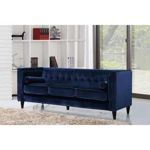 Meridian Taylor Navy Tufted Modern Velvet Sofa