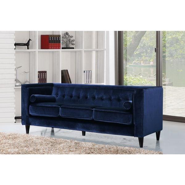 Swell Meridian Taylor Navy Tufted Modern Velvet Sofa Home Interior And Landscaping Transignezvosmurscom