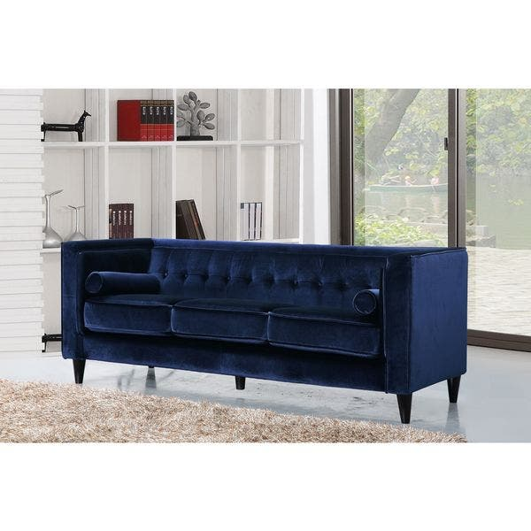 Pleasing Meridian Taylor Navy Tufted Modern Velvet Sofa Creativecarmelina Interior Chair Design Creativecarmelinacom