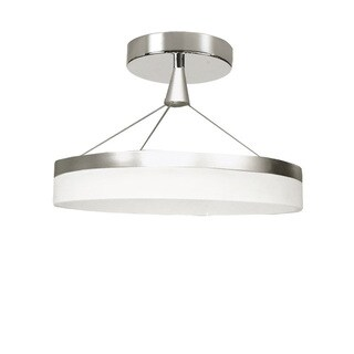 Dainolite Silver White Steel and Aluminum 32-watt LED Semi-flush Circular DIffuser