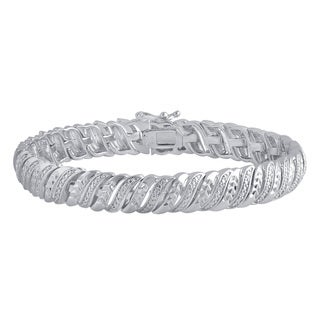 Divina Silver Over Brass Diamond Accent Tennis Bracelet (I-J,I2-I3)
