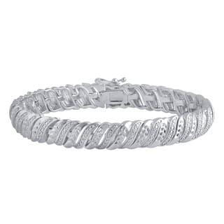 Divina Silver Over Brass Diamond Accent Tennis Bracelet|https://ak1.ostkcdn.com/images/products/12046559/P18916125.jpg?impolicy=medium