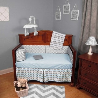 Blue and Gray Chevron Zigzag 5-Piece Crib Bedding Set with Bumper