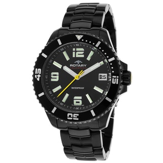 Rotary Men's Aquaspeed Black Ion-plated Stainless Steel Watch