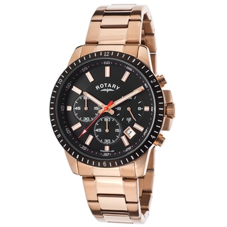 Rotary Rosetone/Black Mineral/Stainless Steel Watch
