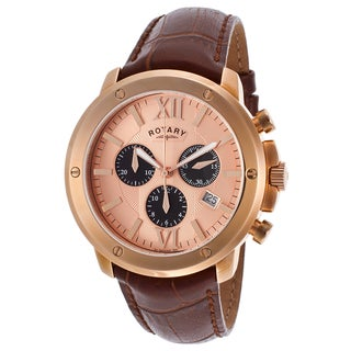 Rotary Brown/Rosetone Mineral/Leather/Stainless Steel Watch