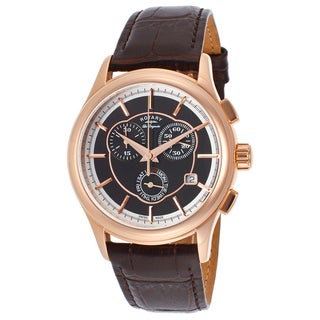 Rotary Les Originales Men's Black Leather and Stainless Steel Water Resistant Quartz Watch