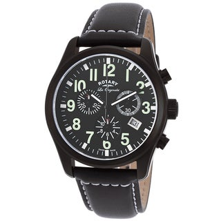 Rotary Les Originales Men's Black/White Stainless-steel/Leather Watch