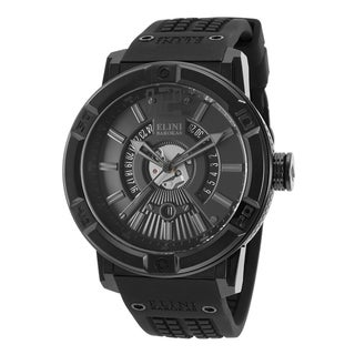 Elini Barokas Men's Spirit Brush and Polished Steel Black Silicone Watch
