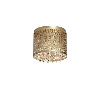Dainolite Palladium Gold Stainless Steel 4-light Flush Mount Crystal with Floral Pattern