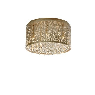 Dainolite 5-light Palladium Gold Flush-mount Floral Pattern Crystal Light