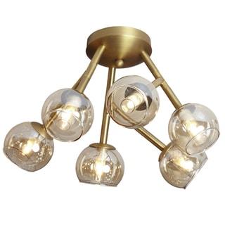 Dainolite Vintage Bronze Steel 6-light Semi Flush with Champagne Glass Balls