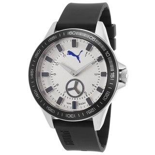 Puma Black/Silvertone Mineral/Rubber/Stainless Steel Watch