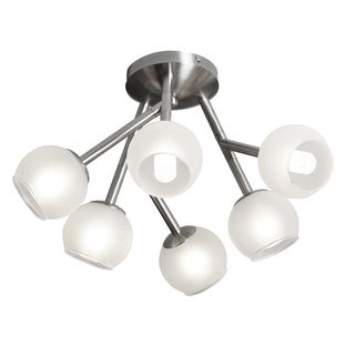 Dainolite Satin Chrome Steel 6-light Semi Flush with Frosted Glass Balls