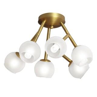 Dainolite Vintage Bronze Steel 6-light Semi Flush with Frosted Glass Balls