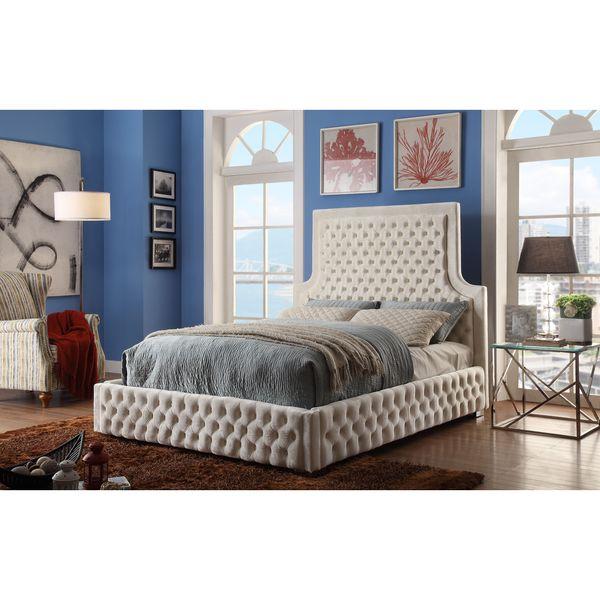 Shop Meridian Sedona Cream Velvet Bed Free Shipping