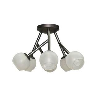 Dainolite Vintage Steel 6-light Semi-flush Light with Frosted Glass Balls