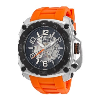 Elini Barokas Men's General Prime Stainless Steel Orange Silicone Watch