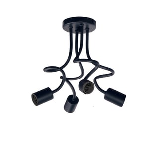Dainolite Matte Black Steel 4-light Semi Flush Fixture