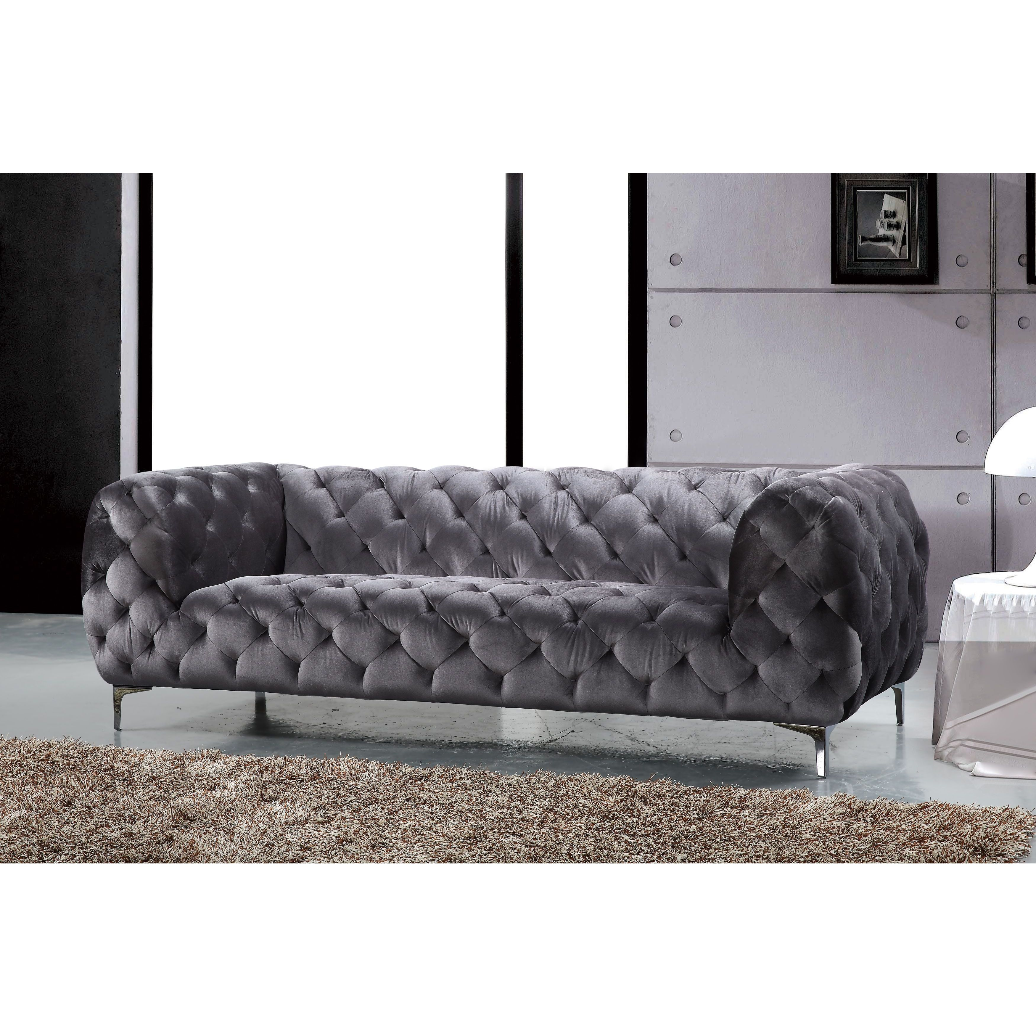Meridian Mercer Grey Velvet Sofa