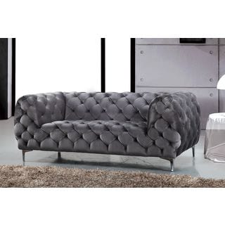 Meridian Mercer Grey Velvet Loveseat