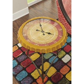 Powell Antique Round Clock Side Table
