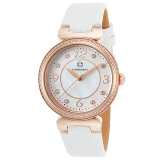 Cabochon Women's Saga Mother of Pearl White Leather Crystal-encrusted Watch