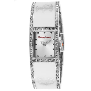 Christian Lacroix White/Silvertone Mineral/Ceramic/Stainless Steel Watch